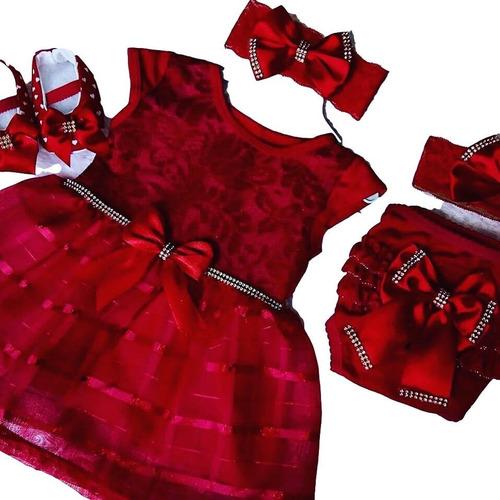 Vestido Luxo Rn A 12 Meses Renda Baby Kit 5 Pç Menina Laço