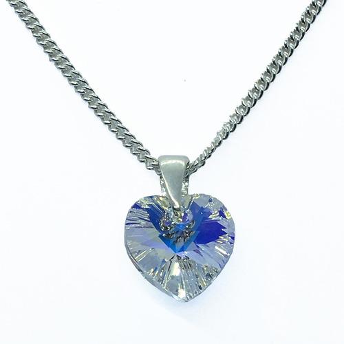 Collar Plata 925 Cristal De Swarovski Dije Corazón 10 Mm