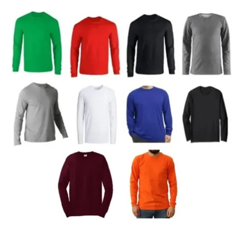 Camibuso Cuello Redondo T-shirt Colores Manga Larga