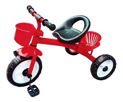 Triciclo Infantil De Metal A Pedal Con Canasto De Niño