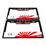 Par (2) Portaplacas Universal Bandera Japón
