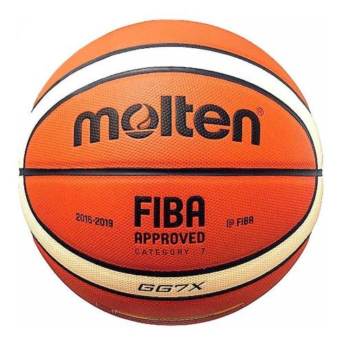 Pelota Basketball Molten Cuero N7 Oficial Profesional El Rey