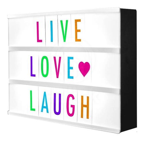 Cartel Luminoso Led Letras Negras + Colores + Emojis Lightbox Usb 32x23 A4 Ohmyshop