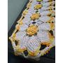 Caminho De Mesa Croche Flores Barroco Amarelo Barbante Cru Original