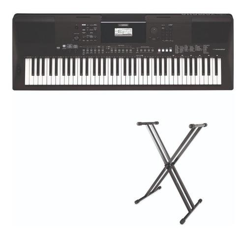 Teclado Organeta Yamaha 6 Octavas Psr-ew410 + Base Adaptador