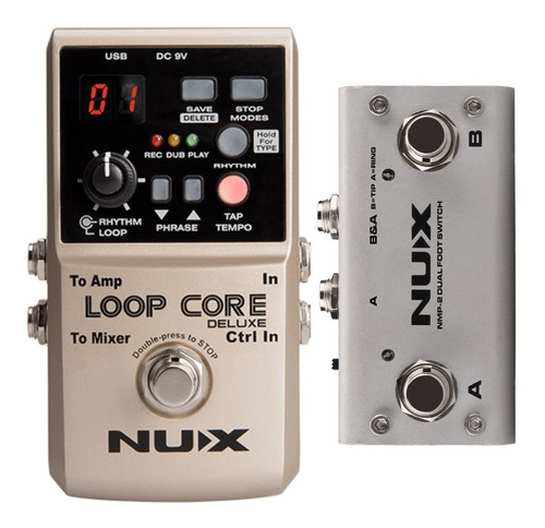 Pedal Nux Loop Core Deluxe + Footswitch Para Guitarra O Bajo