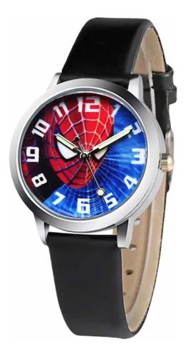 Reloj Spiderman Para Niños Pulsera Negra.