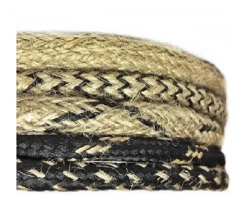 Cable Textil Arpillera Yute Lampara Vintage Retro X 5 Mts