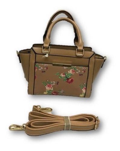 Bolso De Dama Mini Tote Diseño Flores Con Correa Ajustable