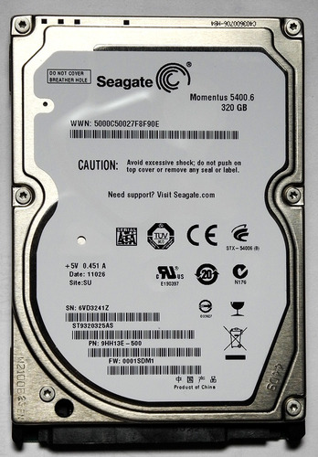 Disco Seagate Sata2  2.5  Notebook  320 Gb   **impecable**
