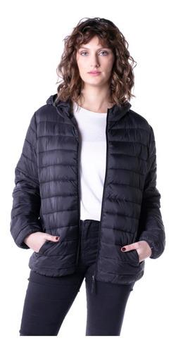 Campera Inflable Simil Pluma C/capucha Mujer Mizu