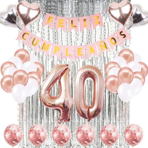 Combo Deco Feliz Cumple  Rosa Gold Plata Cortina Banderin