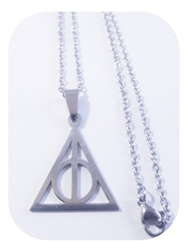 Dije Harry Potter Reliquias De La Muerte + Cadena Acero
