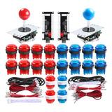 Botones Arcade Stick Joystick Raspberry Pi Kit Rojo Azul