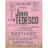 Antiguo Folleto Johny Tedesco  Maryland Santos Lugares