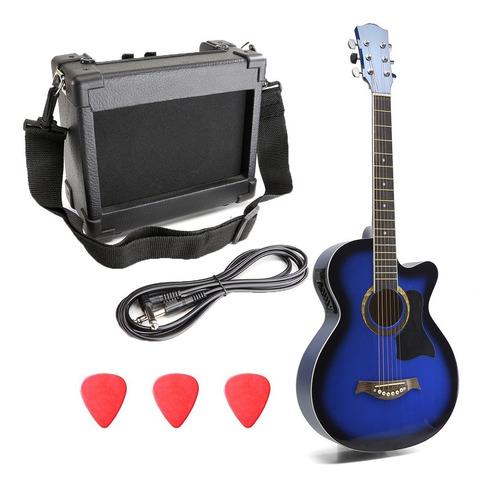 Guitarra Electroacustica Con Amplificador Kit Cuerdas Acero