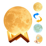 Lámpara De Mesa En Forma De Luna Control Táctil De Brillo