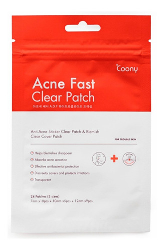 Tratamiento Acne Fast Clear Patch Coony  X24 Parches