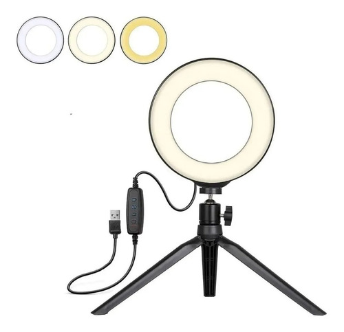 Aro De Luz Led 16cm Profesional Foto Video 3 Luces + Tripode