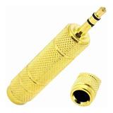 Adaptador Mini Plug 3.5mm A Plug Hembra 6.3mm Estéreo Dorado
