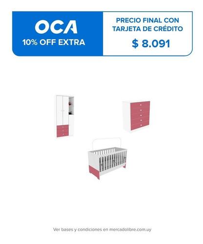 Dormitorio Bebe Infantil Cuna + Ropero + Comoda Sensacion