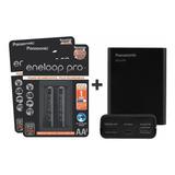 Kit Carregador Panasonic Eneloop Pro Bq-cc87 + 4 Pilhas Aa
