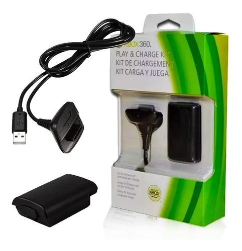 Kit 1 Bateria P/ Controle Xbox 360 + 1 Cabo Carregador 1.4m