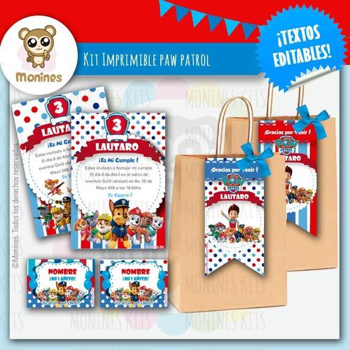 Kit Imprimible Paw Patrol Patrulla Canina ¡texto Editable!