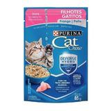 Alimento Cat Chow Defense Plus Para Gato Desde Cedo Sabor Frango Em Sachê De 85g
