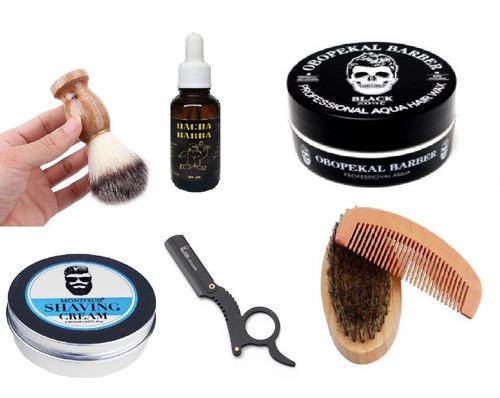 Aceite De Crecimiento De Barba + Set De Afeitado Barberia