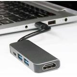 Hub Adaptador Usb C 4 En 1 Macbook Air Pro Hdmi Usb3.0 Usb C