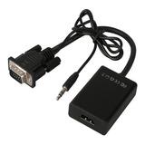 Conversor Vga A Hdmi Con Audio Adaptador Cable Tv Hd 1080p