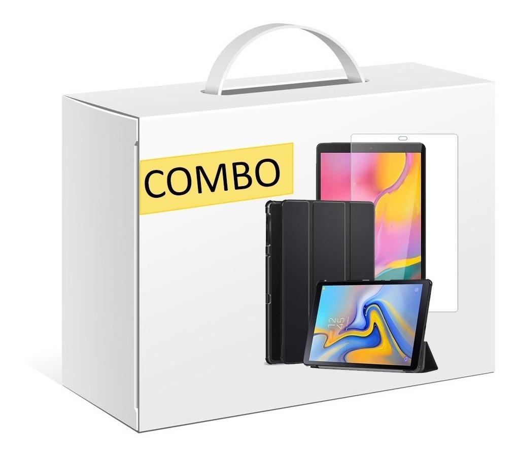 COMBO FUNDA SMART TAB A T590 NEGRO + VIDRIO TEMPLADO