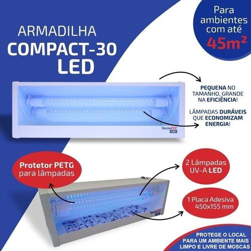 Armadilha Luminosa Com 2 Lâmpadas Led Mata Mosca Inseto + Nf