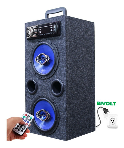 Caixa Radio Bluetooth Usb Torre Ativa Residencial Falante 6