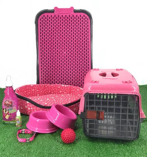 Kit Luxo Caminha Transporte Casinha Plástica Para Cães Peq