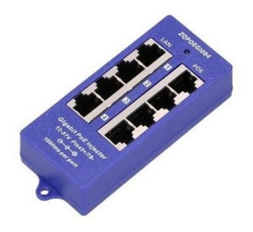 4 Puertos Gigabit Ethernet Inyector Poe