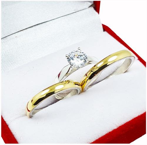 Alianzas Plata Y Oro El Par Anillo Casamiento Grabado
