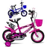 Bicicleta Rod.12 Canasto + Rueditas + Accesorios Niño Niña
