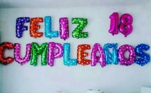 Globos Metalizados Colores Letras Números Cumpleaños