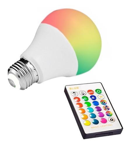 Lampara Led Rgbw 7w E27 220v Control Remoto 16 Colores Ofert