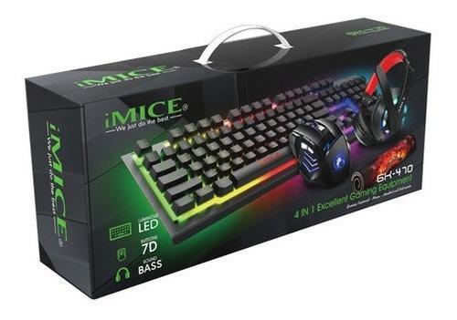 Kit Gamer Imice 4 En 1 Gk-470 Teclado Mouse Audífonos Y Pad