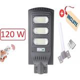 Foco Led Solar 120 Led 120w Luminaria Full+poste+control