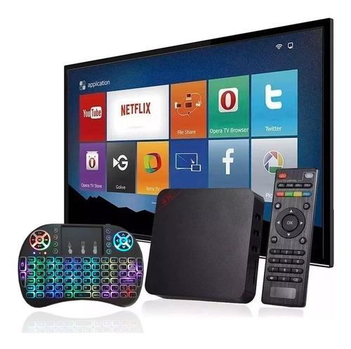 1 Aparelho Adaptador Smart Tv Box + 1 Mini Teclado Led Usb