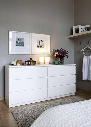 Comoda 6 Cajones Amplio  Mueble Melamina Blanco Dormitorio