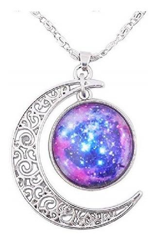 Collar Cadena Gargantilla Mujer Media Luna Galaxia Nebulosa
