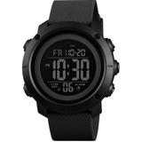 Reloj Skmei Digital Pantalla Negra Aro Negro Resiste 50 M