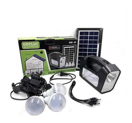 Kit Solar Emergencia Camping 220v Ampolletas 36hrs / Gd-8