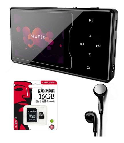 Mp3 Mp4 16gb Bt Grabador Radio Fm + Auriculares + Sd 16gb