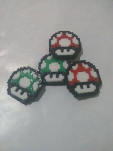 4 Dijes Mario Bross Honguito De Mario Verde Rojo